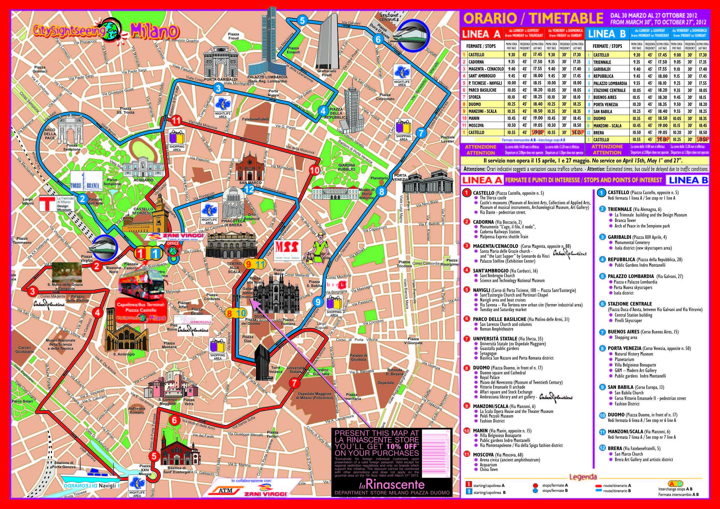 Milan City Sightseeing Tour Bus