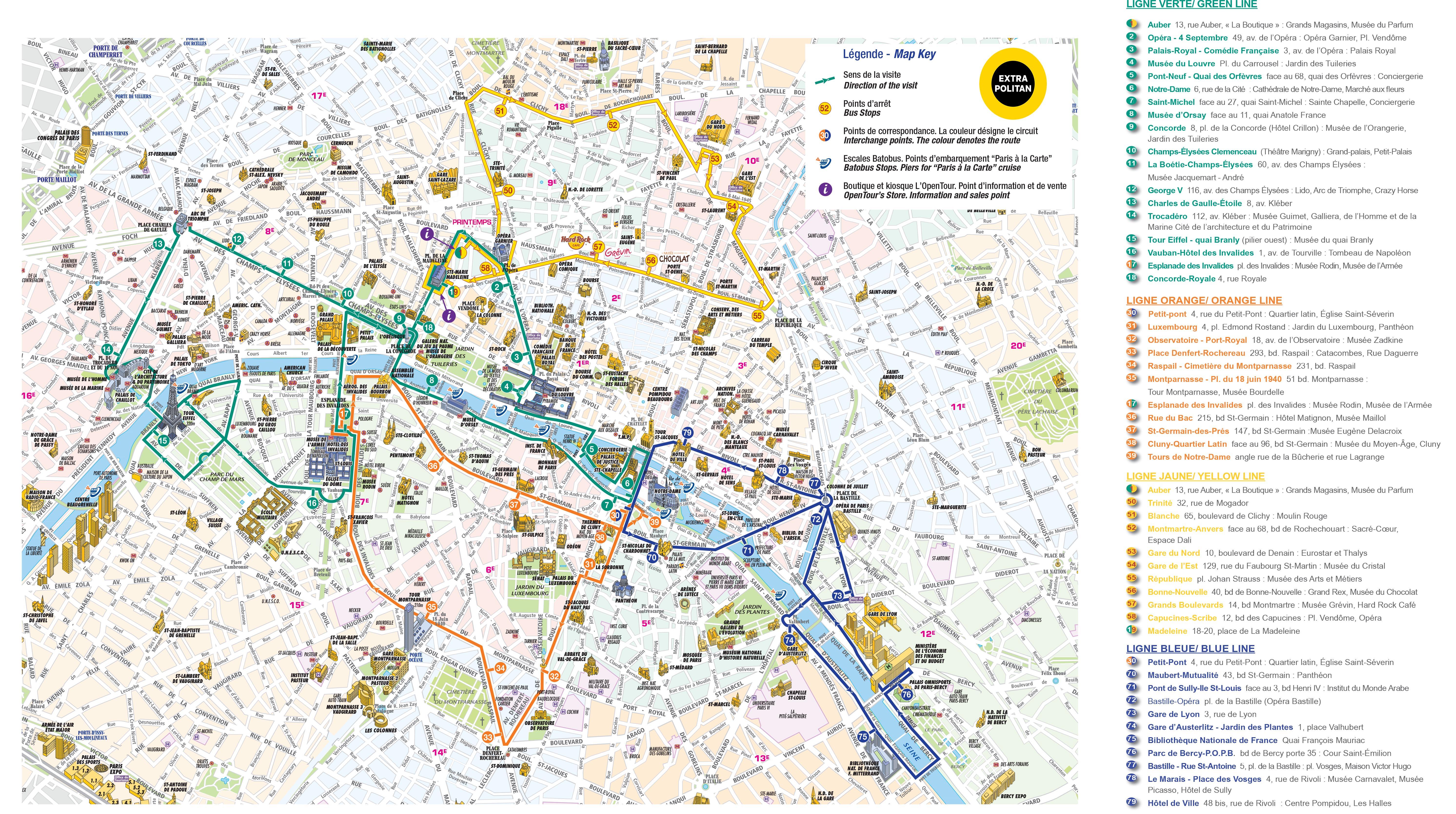 Sightseeing Map Of Paris - Large map of paris france